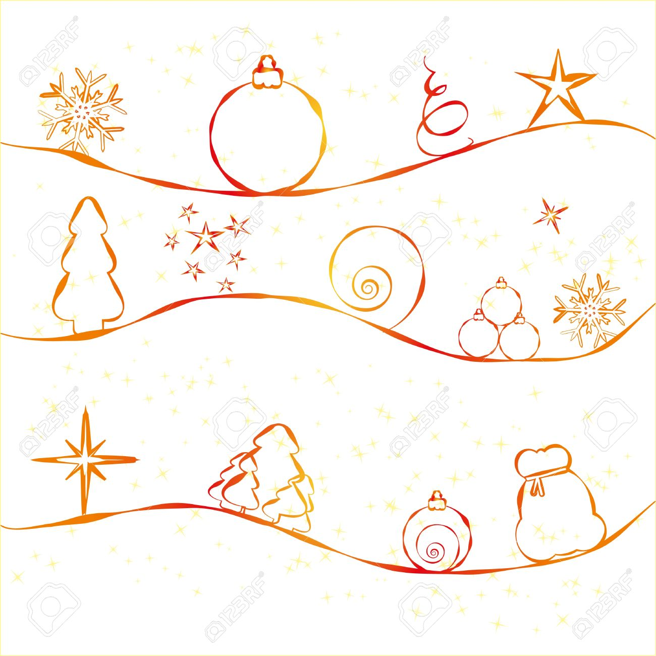 christmas card with simple christmas decorations on strry background stock vector 8408059