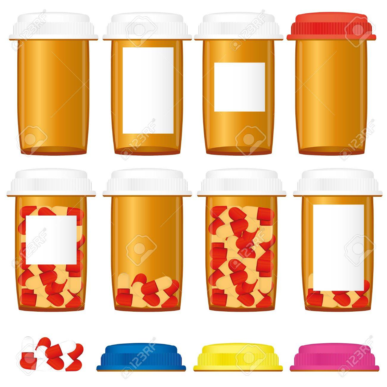 Set of prescription medicine bottles with colorful caps isolated on a white background, vector illustration Stock Vector - 9249697