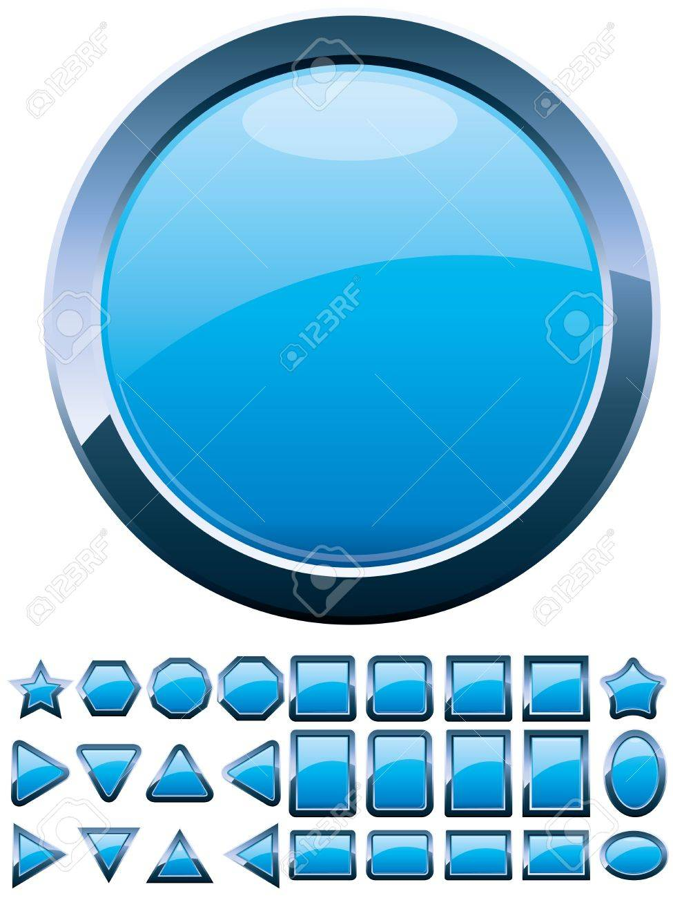 Set of 28 shiny blue glass buttons, glossy icons, web spheres, vector illustration Stock Vector - 9417613