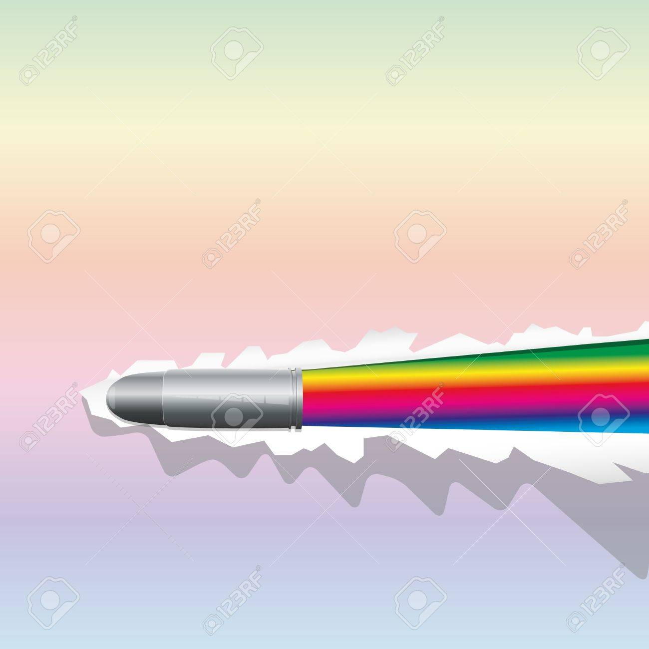 Background with bullet breaks a sheet of paper and open rainbow Stock Vector - 9811177