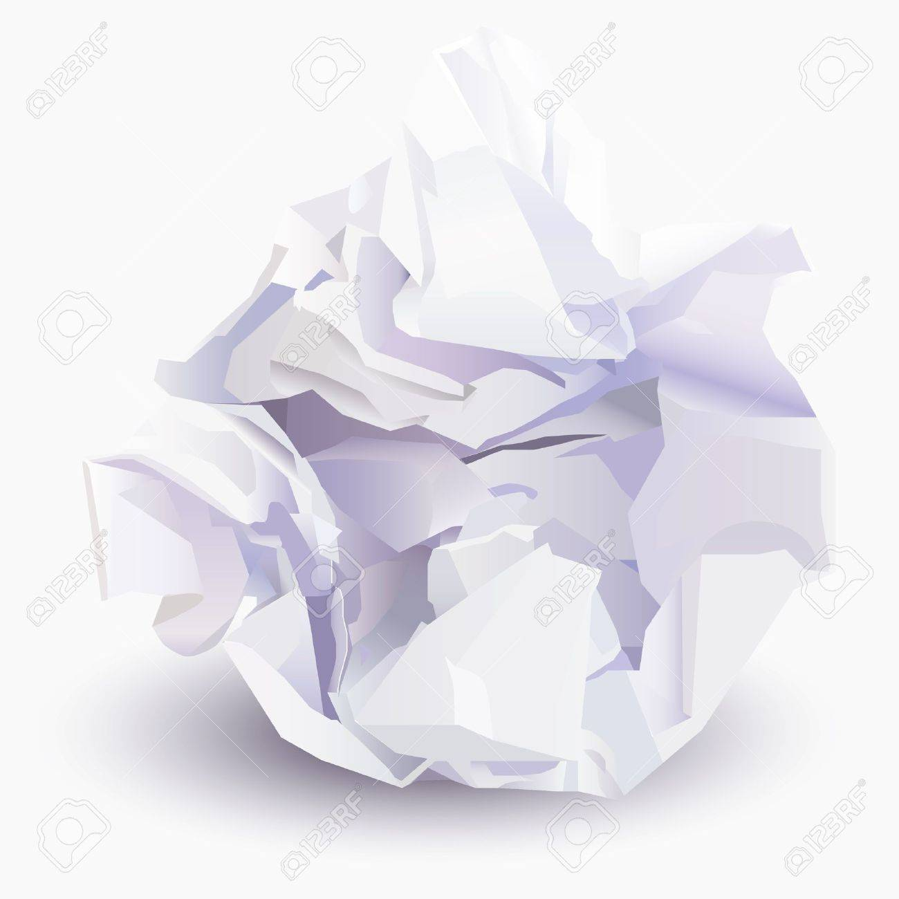 crumpled sheet of paper to paper ball, vector illustration royalty
