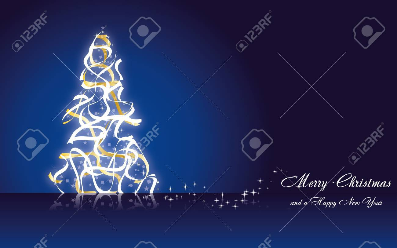 Christmas greetings card with fir tree made from golden ribbons on blue background, vector illustration eps 10.0 Stock Vector - 11663599