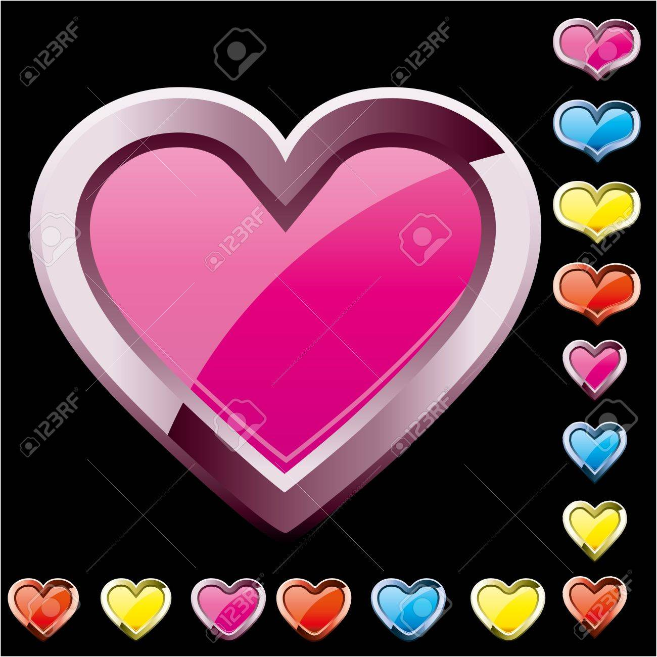 Set of colored heart shape icons, vector illustration Stock Vector - 16352200