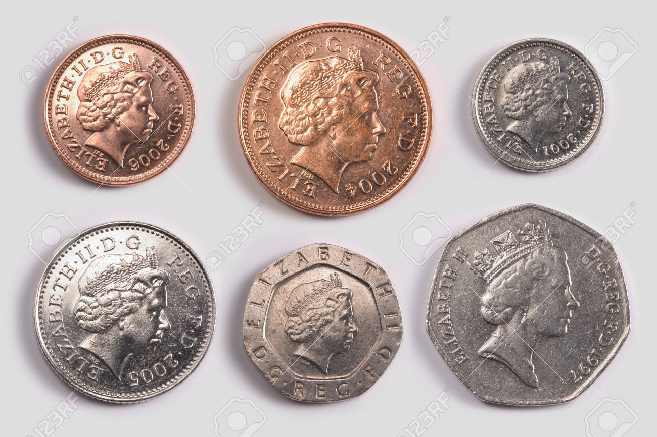 British coins: one pence coin, two pence coin, five pence coin,