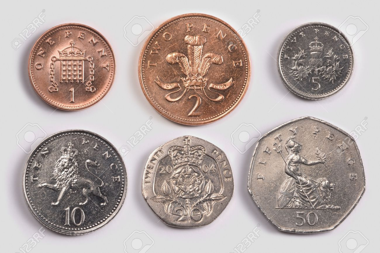 British Coins: One Pence Coin, Two Pence Coin; Five Pence Coin ...