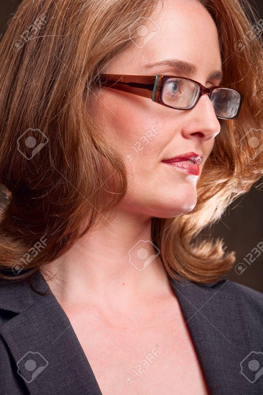 Side view of beautiful woman wearing glasses Stock Photo - 6683409