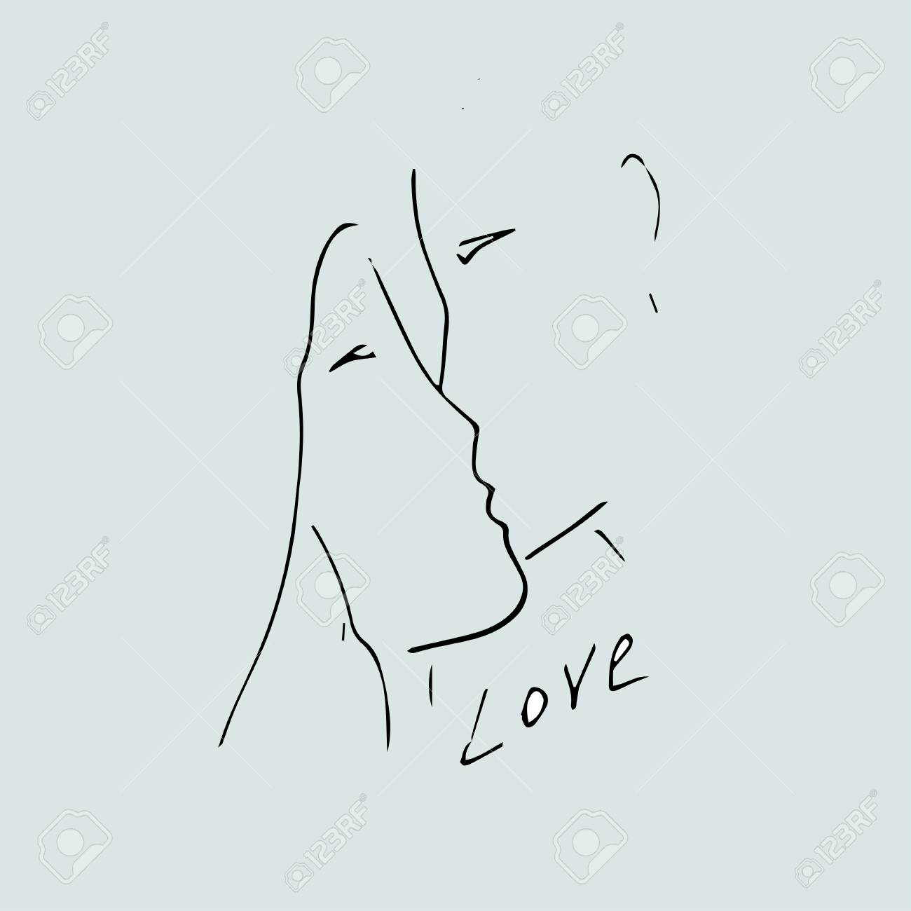 Love Idea Boy And Girl Kiss Outline Drawing Royalty Free Cliparts
