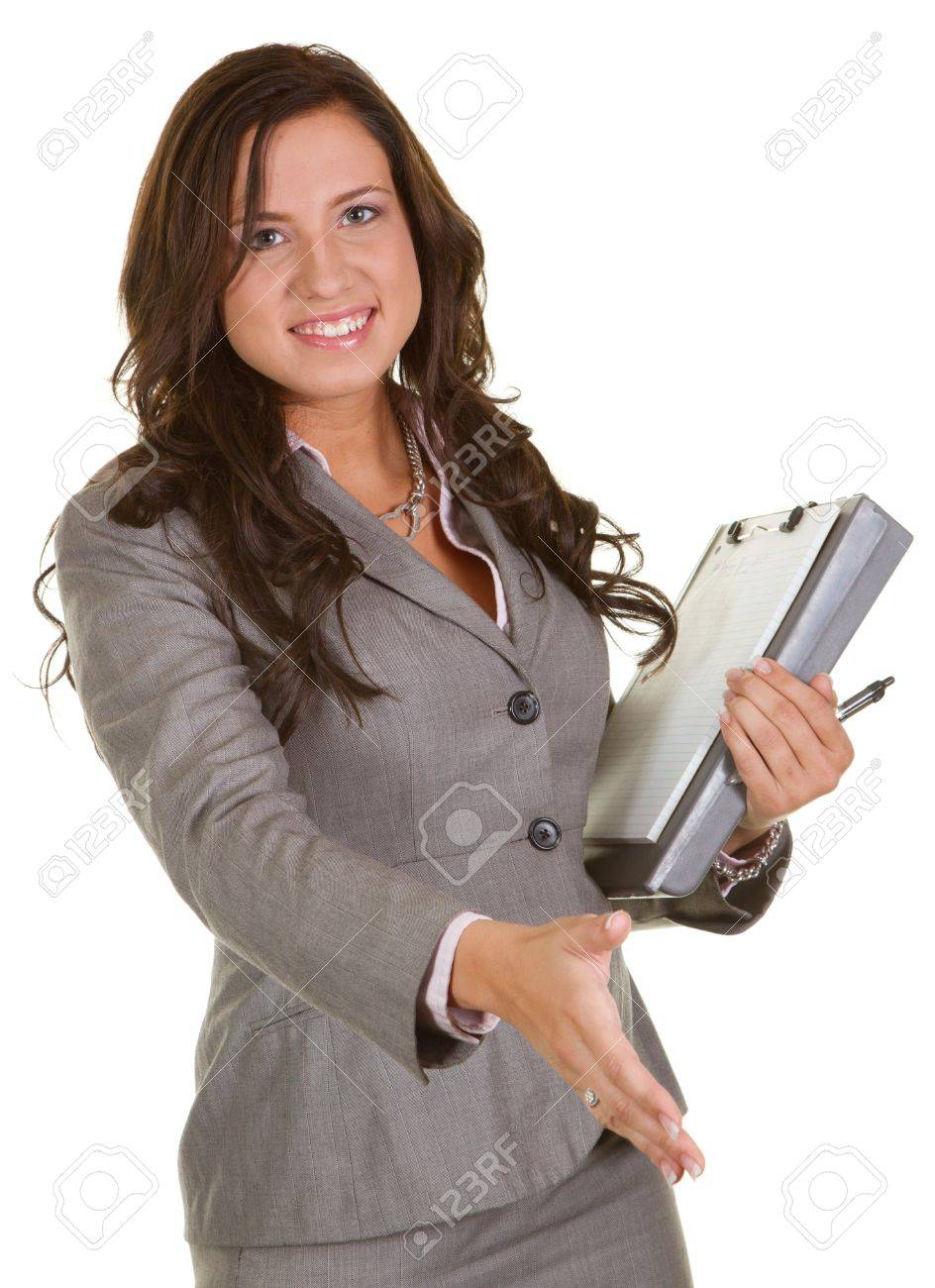 Young businesswoman extending her hand to shake hands Stock Photo - 8032539