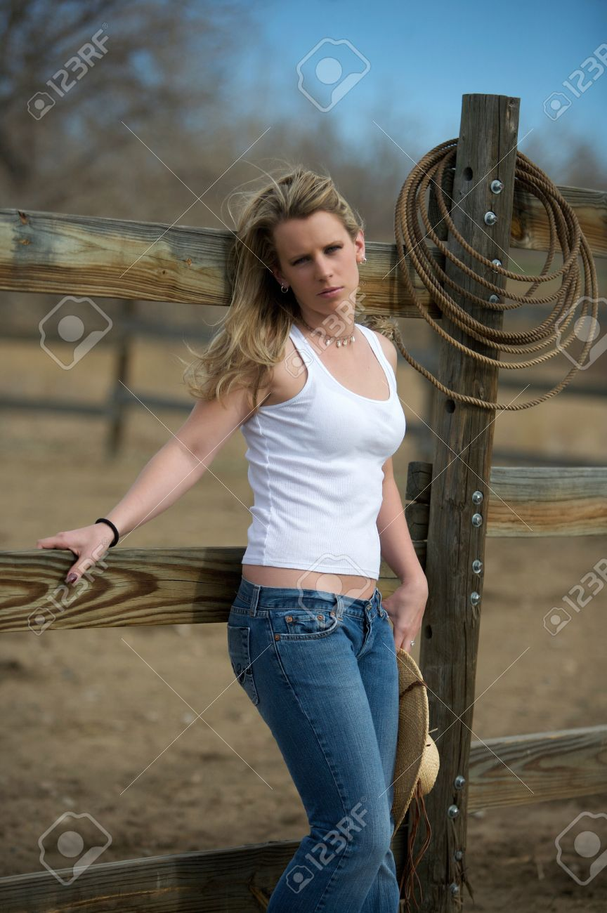 Young Cute Country Girl Outdoors On The Farm In Colorado Stock Photo ... 0e4b85f15a3