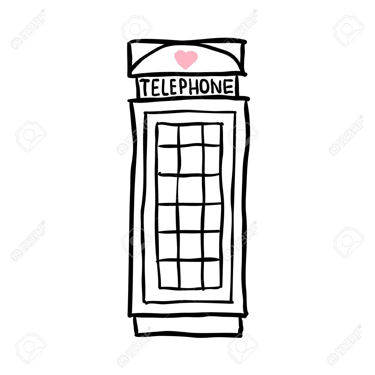 London pay phone. sketch illustration on white background Stock Vector - 25429413