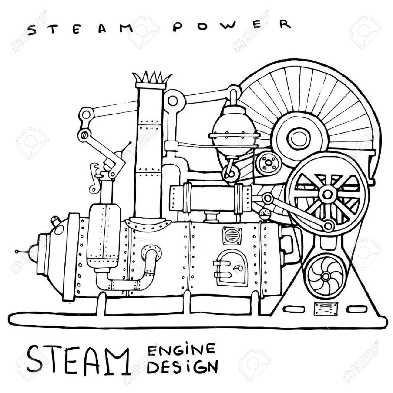 Old Steam Engine Hand Drawn Vintage Illustrationvector Royalty Diagram Of Stock Vector 47354248