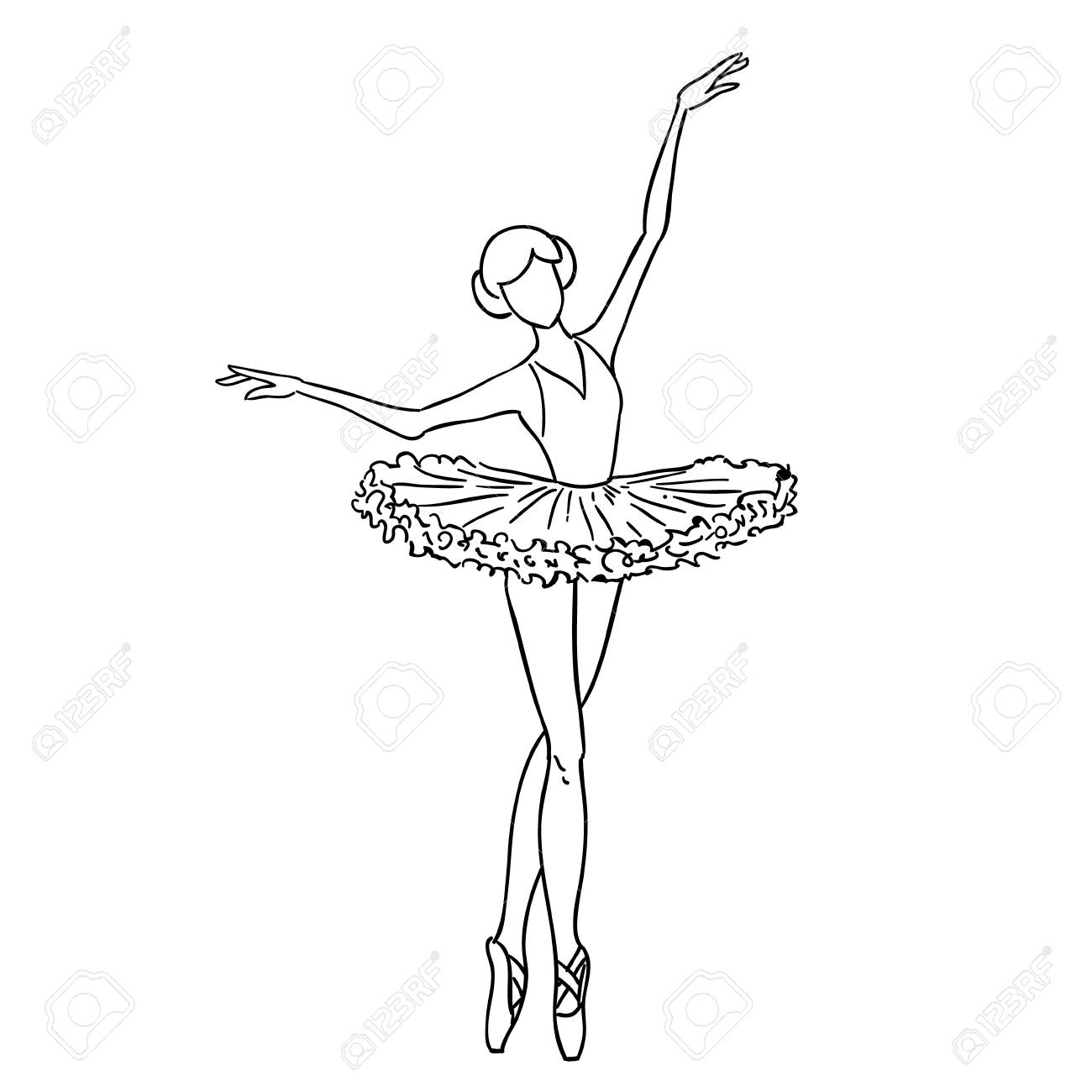 Ballerina Dancer Black And White Sketch Cartoon Doodle Royalty Free Cliparts Vectors And Stock Illustration Image 94768122