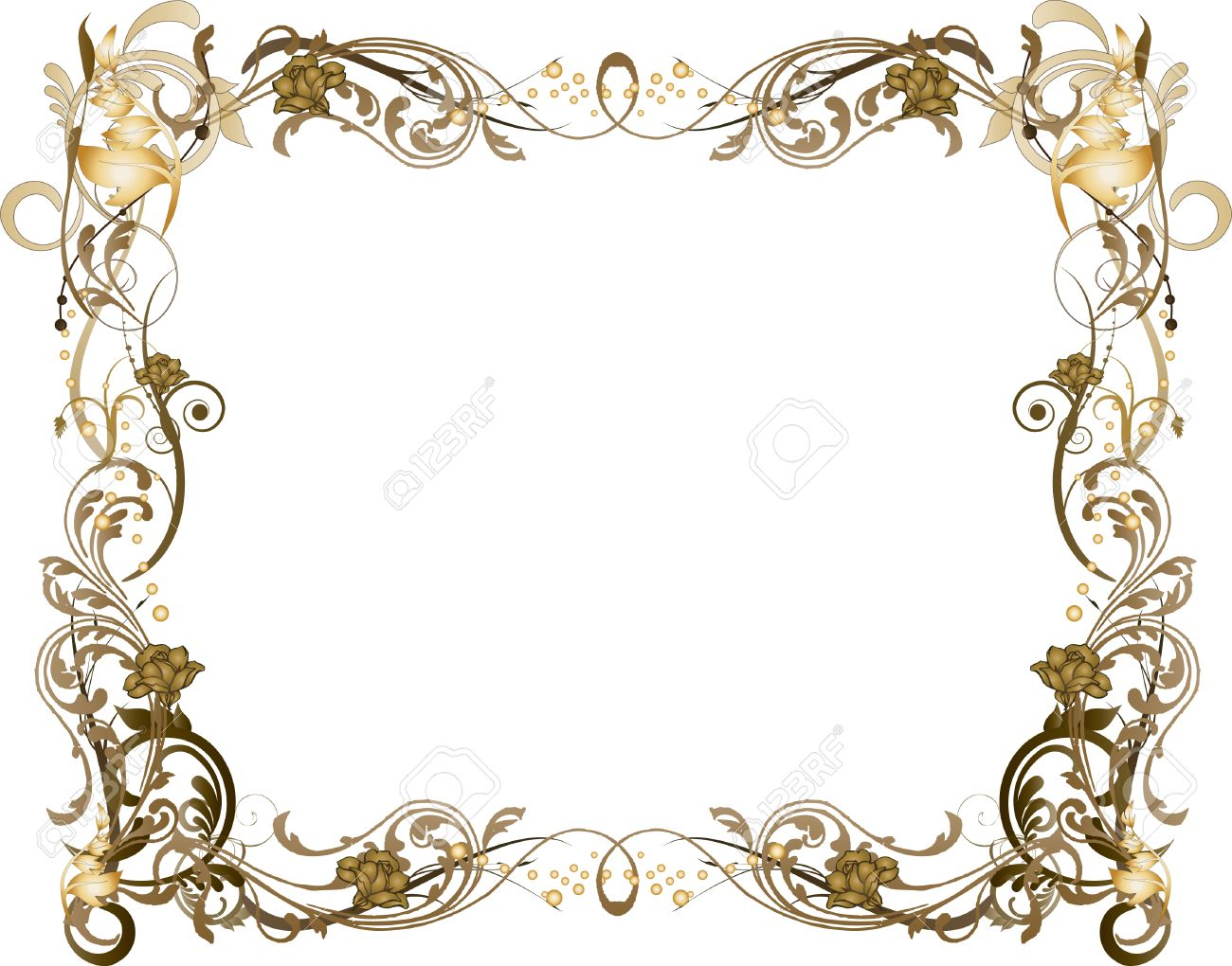 brown and gold floral frame stock vector 2910711