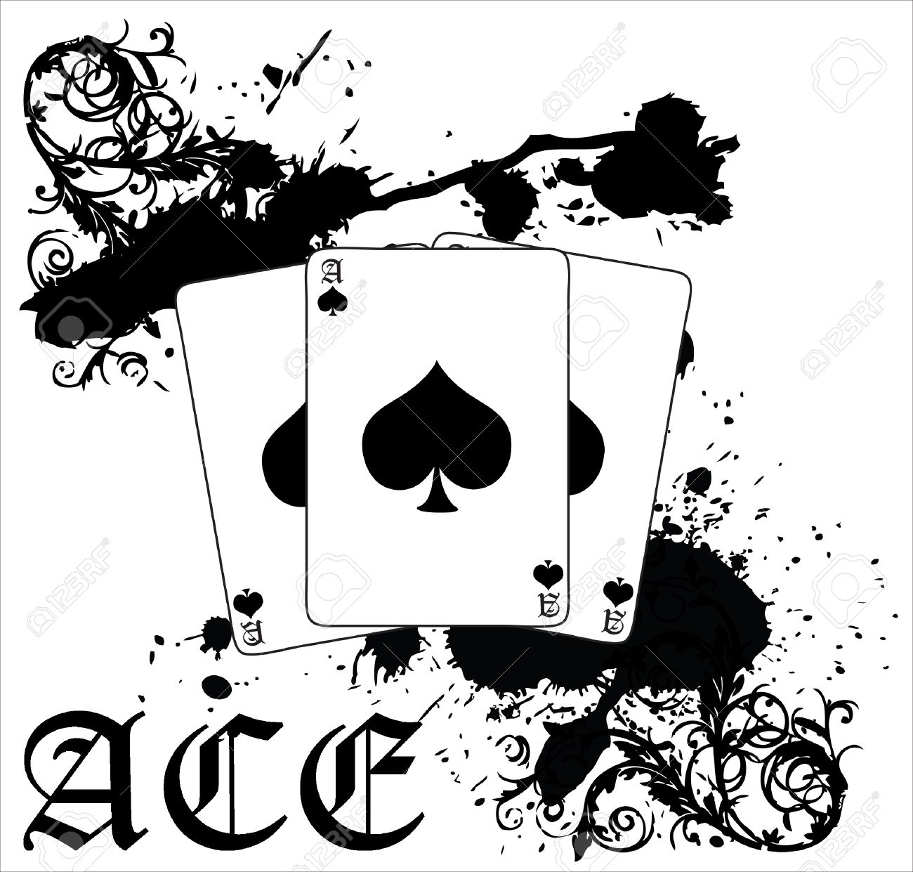 A black splotched vector illustration of three ace of spades a black splotched vector illustration of three ace of spades cards stock vector 4252435 biocorpaavc Choice Image