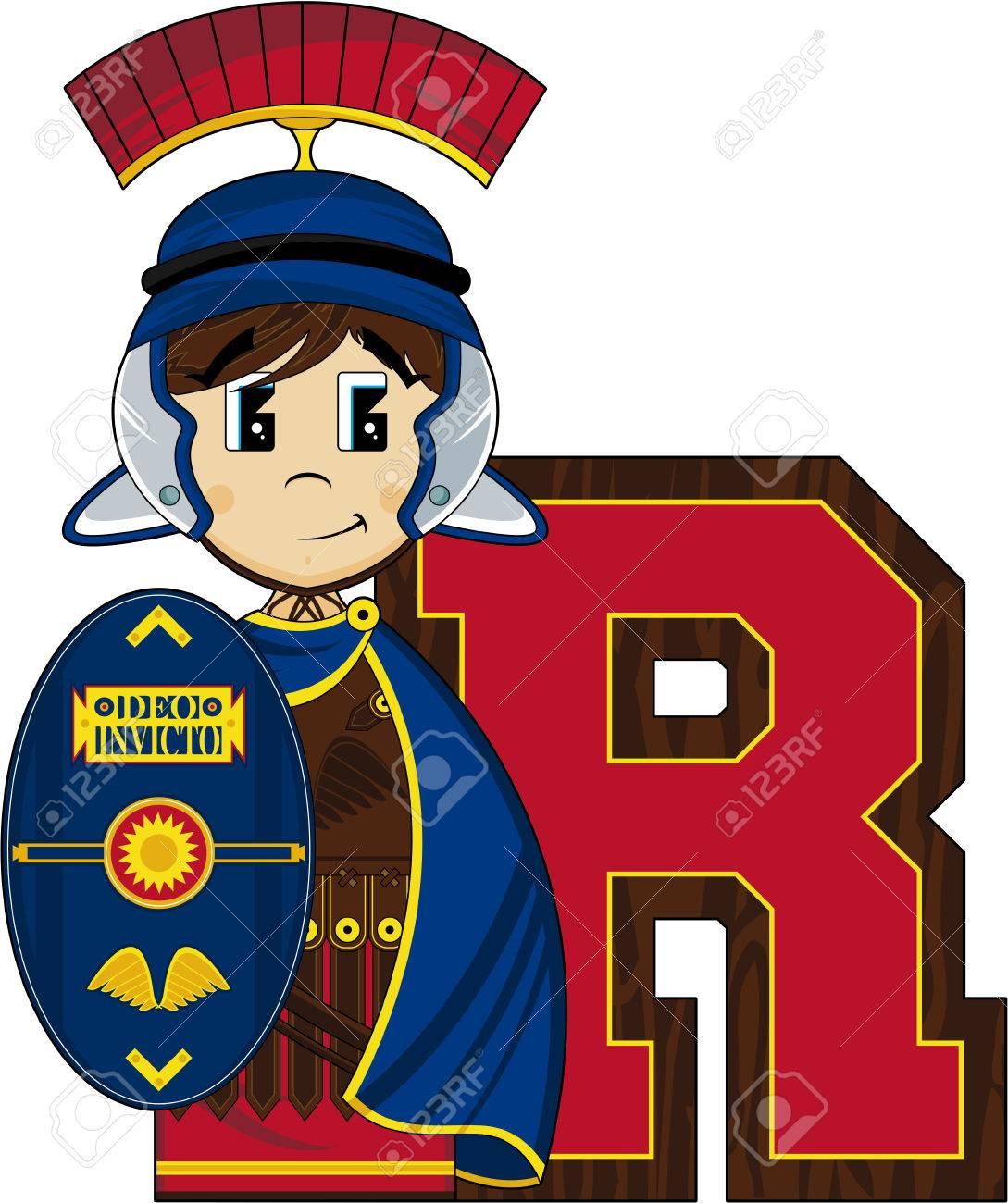 R is for roman alphabet learning illustration stock vector 73754607