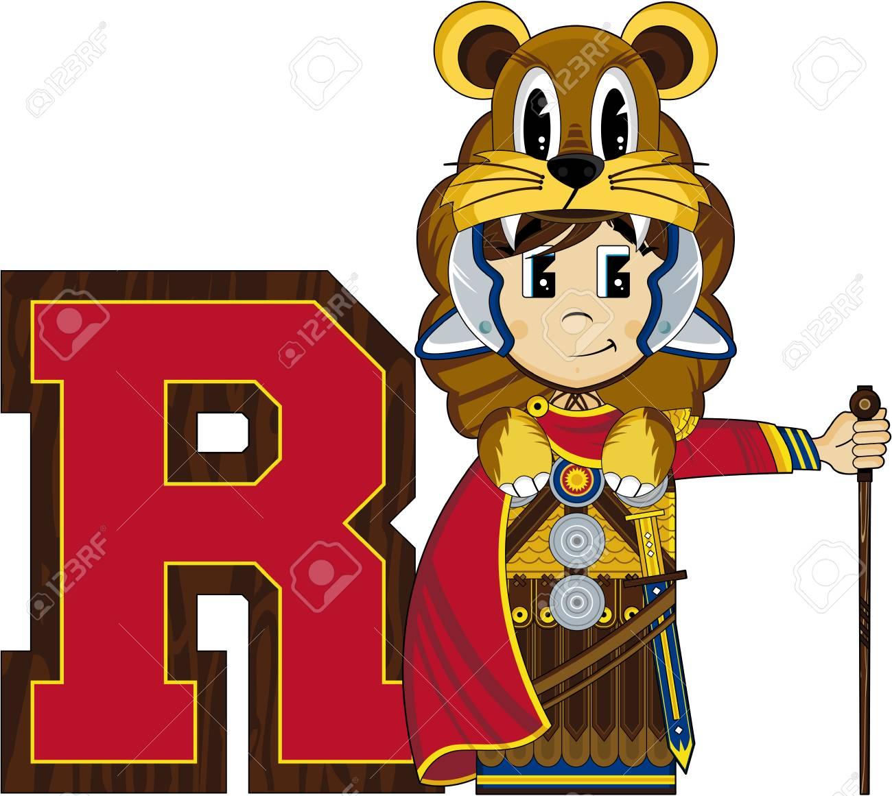 R is for roman alphabet learning illustration stock vector 73307391