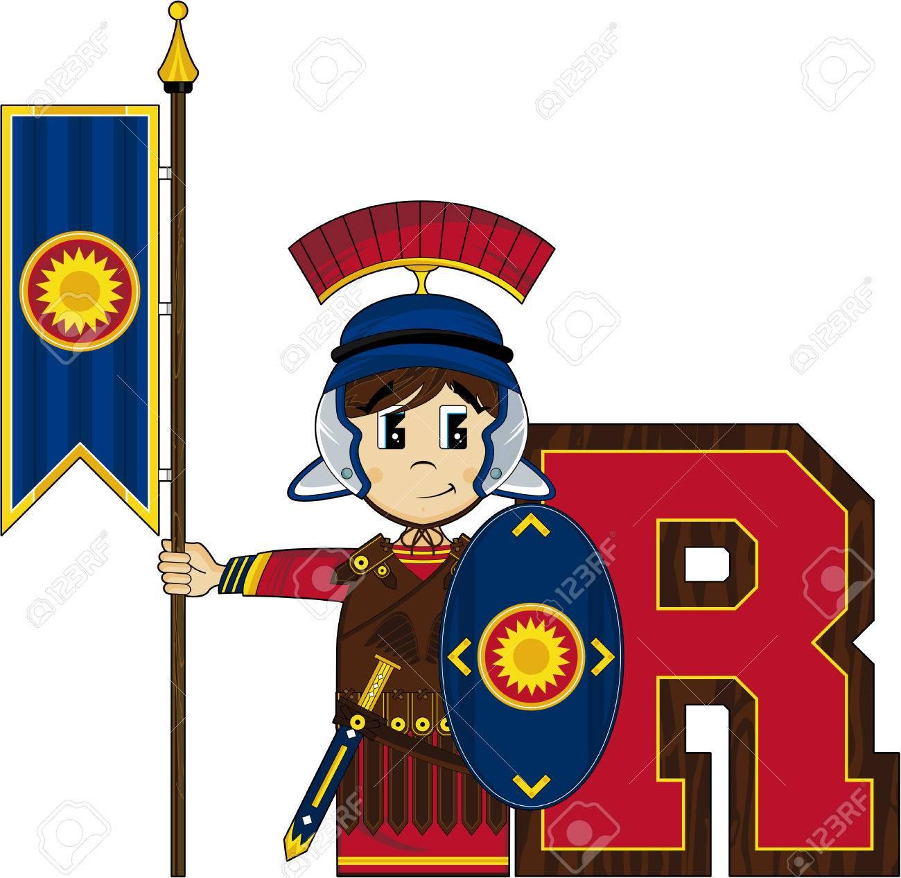 R is for roman alphabet learning illustration stock vector 73307396