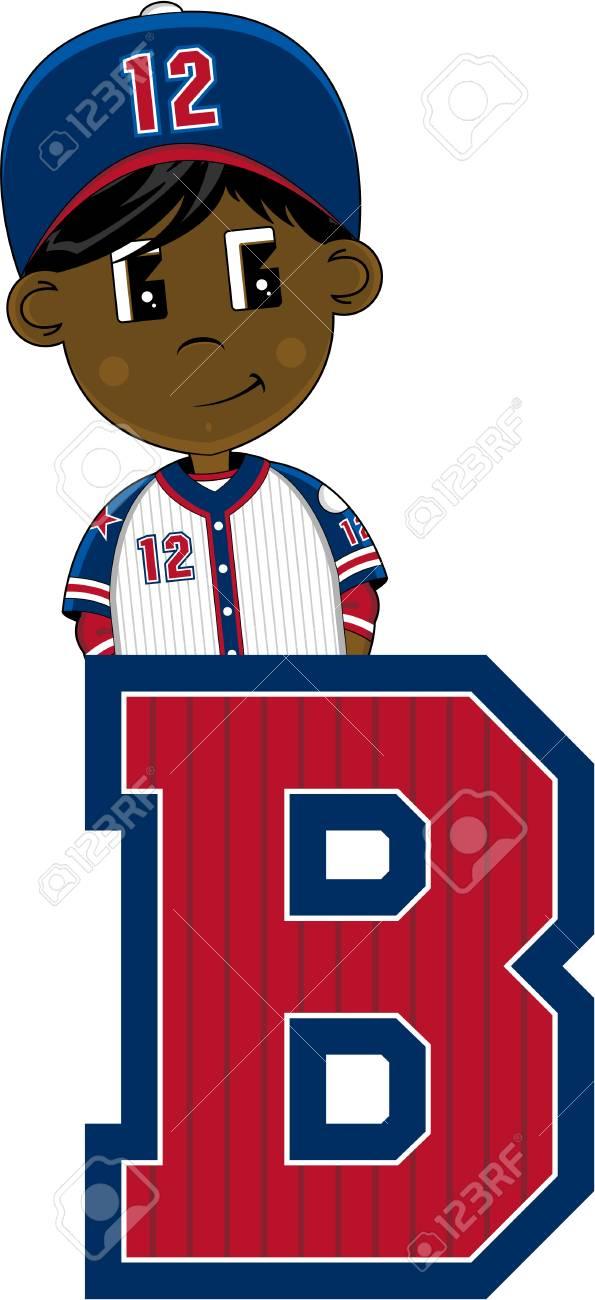 B は野球のアルファベット学習イラストですのイラスト素材ベクタ