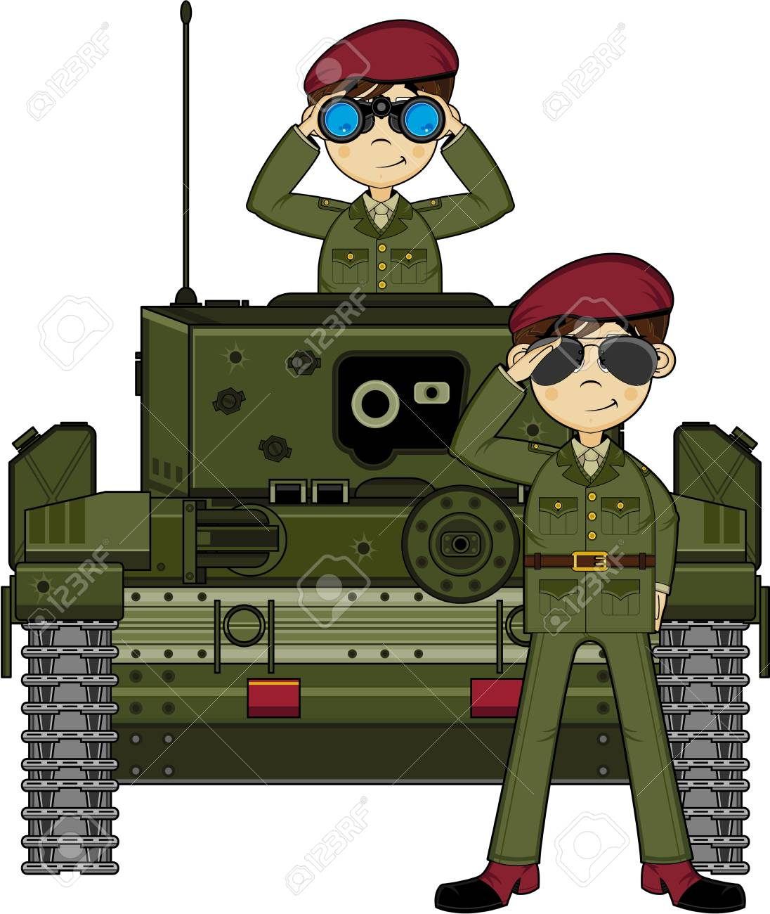 Cartoon Army Soldiers And Tank Royalty Free Cliparts Vectors And Stock Illustration Image 81795614