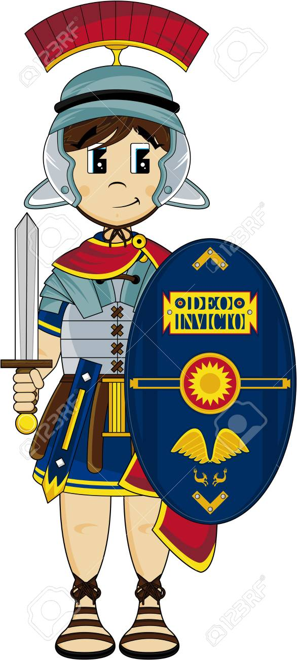 cartoon roman centurion soldier royalty free cliparts vectors and rh 123rf com roman soldier helmet clipart roman soldier clipart free