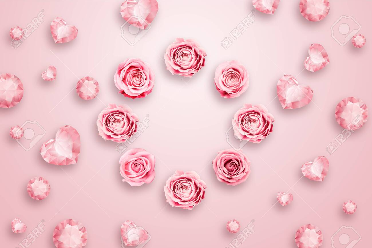 Pink roses and green leaves against a pink background. flat lay, copy space, Mixed media, top view. - 122336380