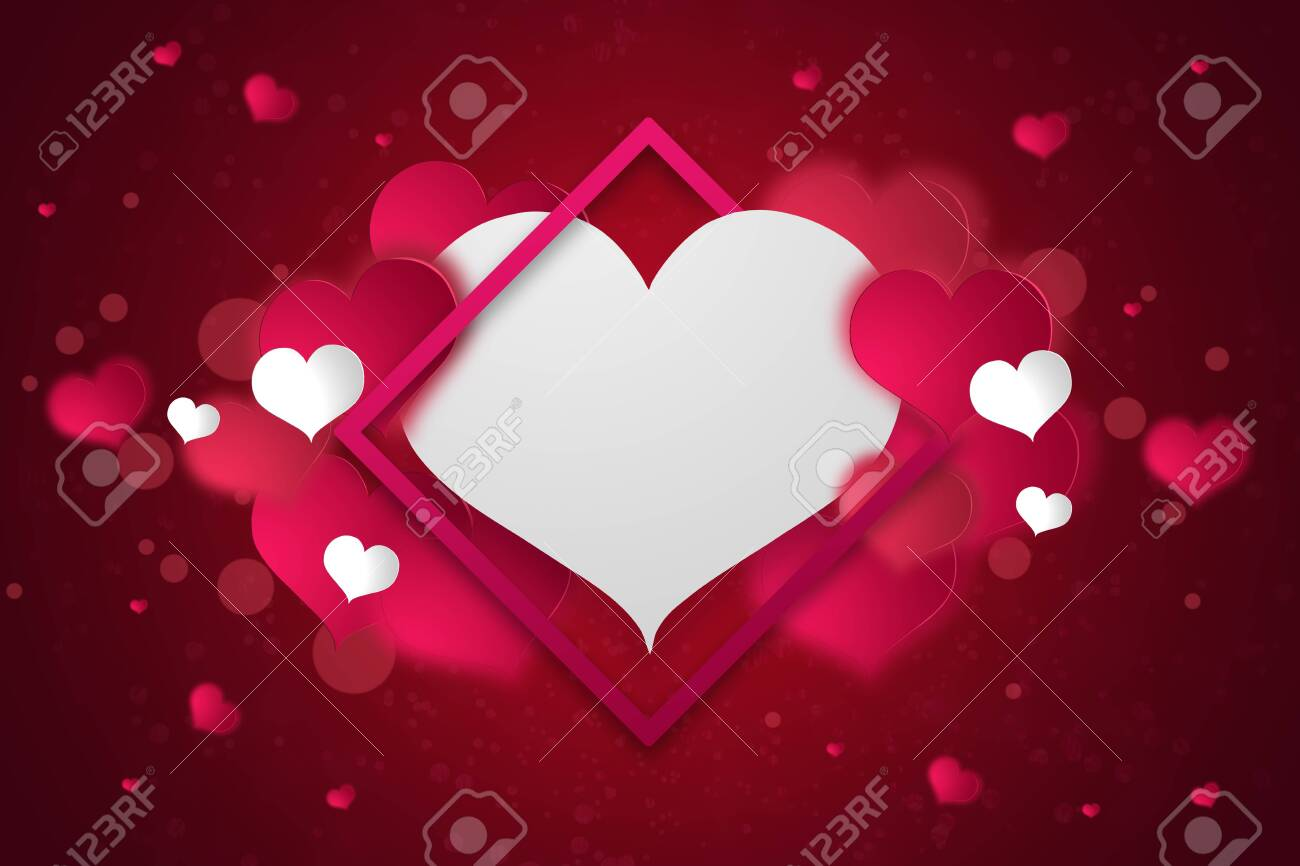 Happy Valentines Day Festive Web Banner View Of The Composition With Pink Hearts On A White Heart Background Wallpaper Flyers Invitations