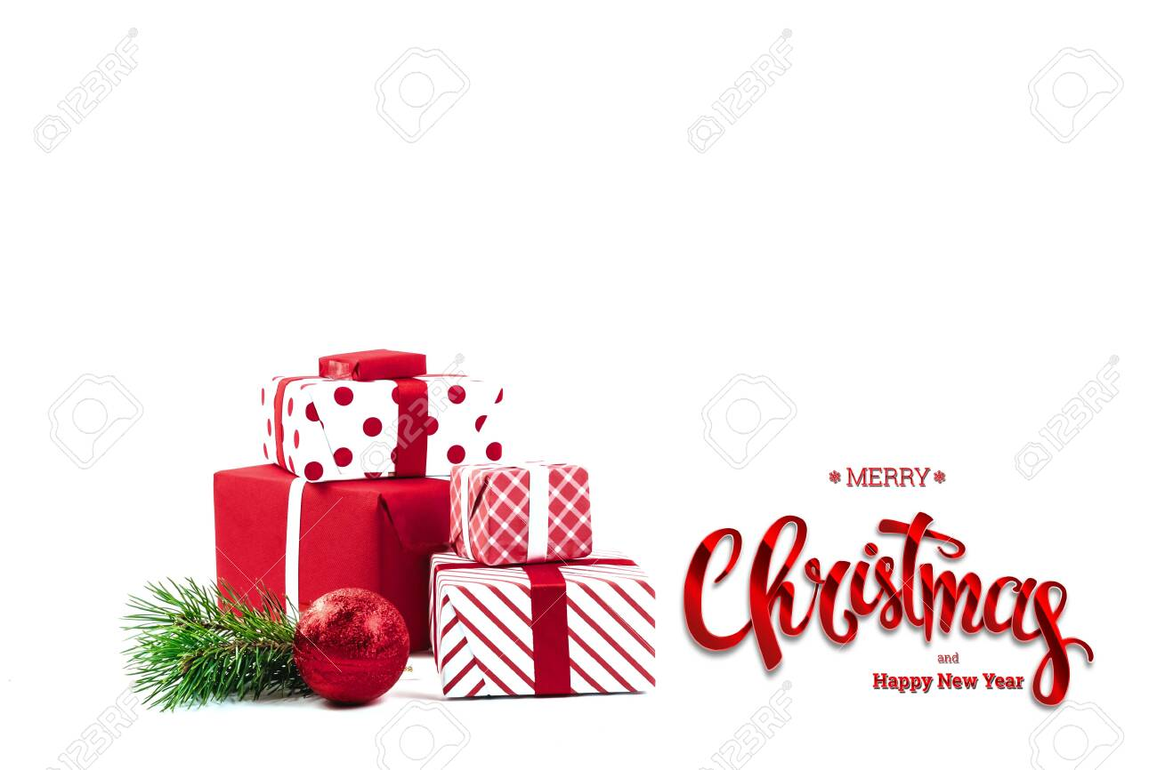 Inscription Merry Christmas And Happy New Year Presents Red
