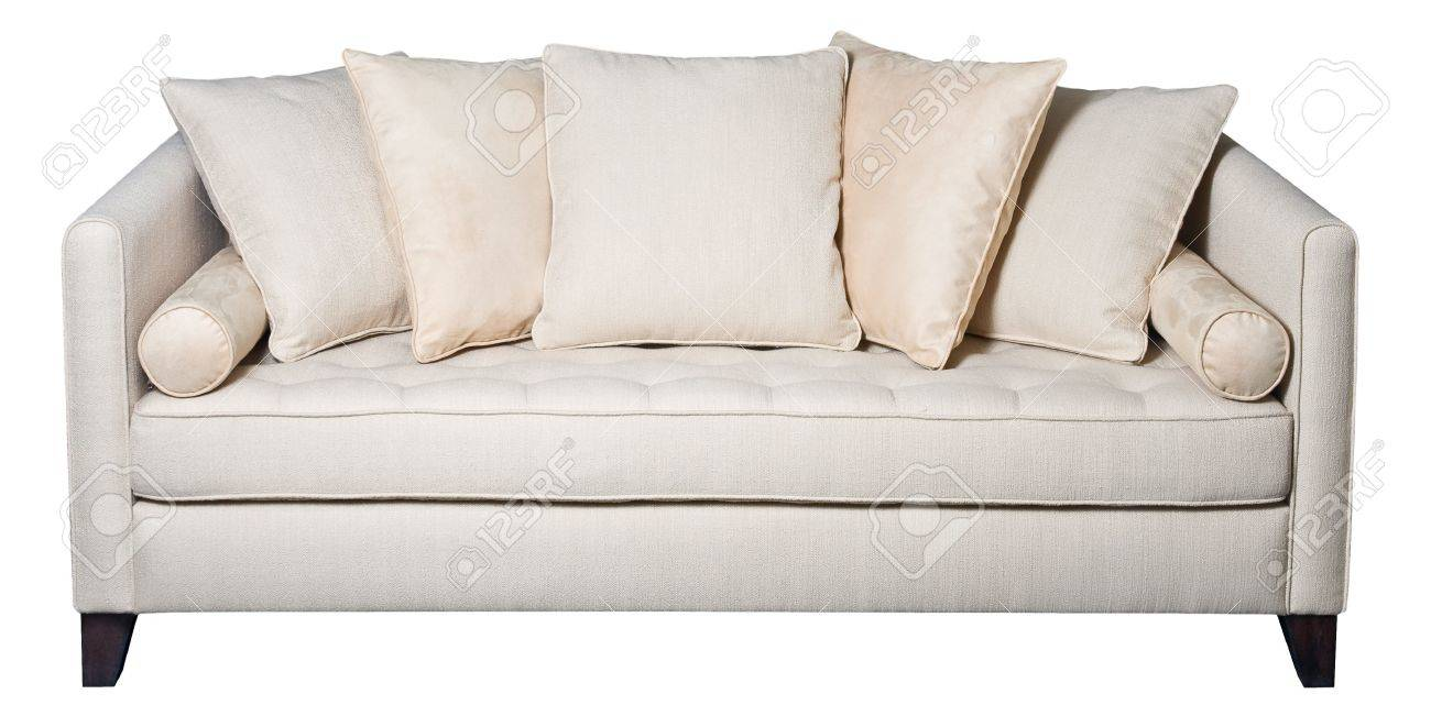 White Sofa With Cushions Fabric Upholstery Isolated Stock Photo