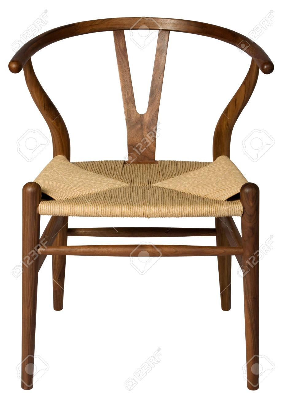 Stock Photo   Wooden Chair With Woven Seat.
