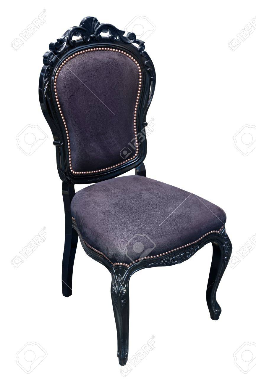 Antique black leather chairs - Elaborate Black Antique Chair With Leather Upholstery Stock Photo 3381304