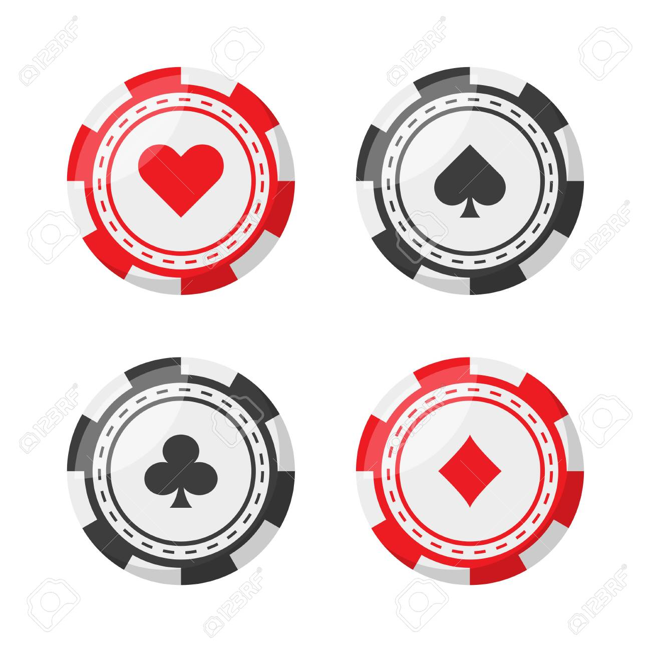 set poker chip in flat style, vector isolated - 131378540