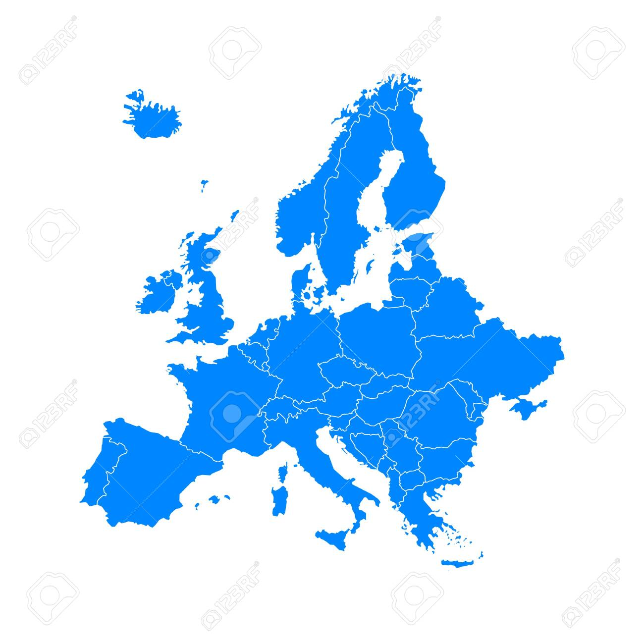 blue europe map on a white background in flat - 135457075