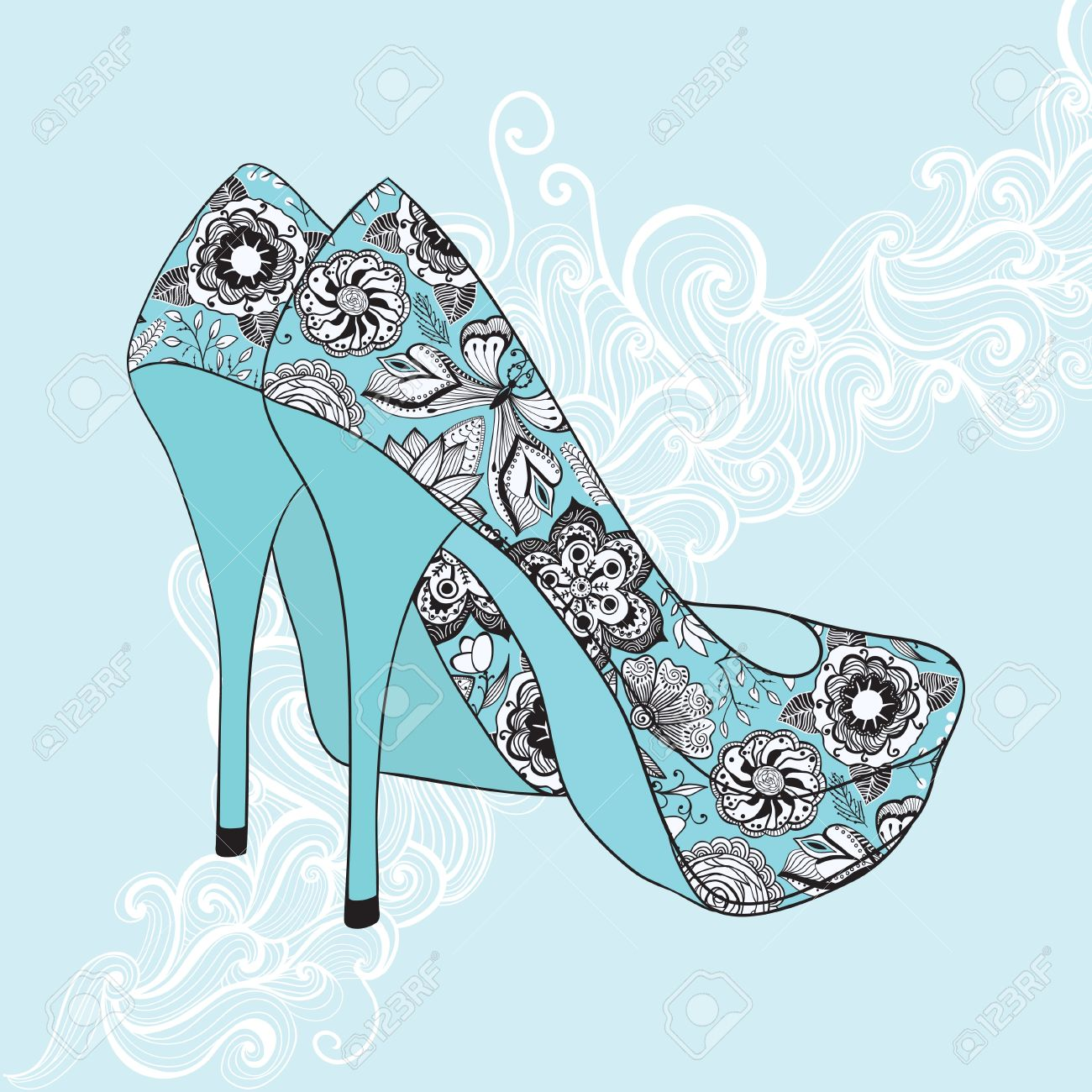 A high-heeled vintage shoes with flowers fabric. High heels background with place for you text Stock Vector - 11585995