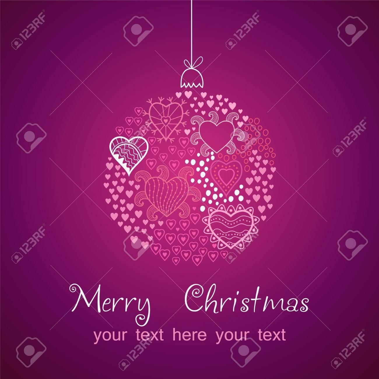 ornate christmas balls made of hearts. Romantic Christmas ball illustration. EPS10 Stock Vector - 11662949