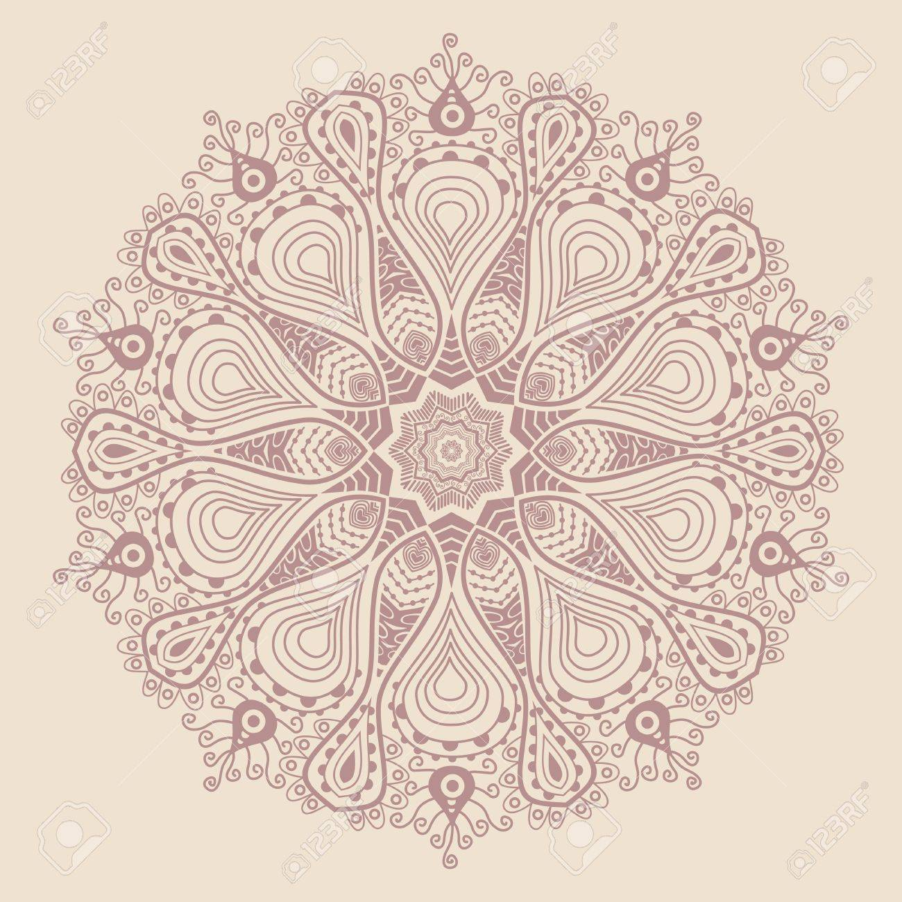 ornamental round lace pattern, circle background with many details, looks like crocheting handmade lace Stock Vector - 15443384