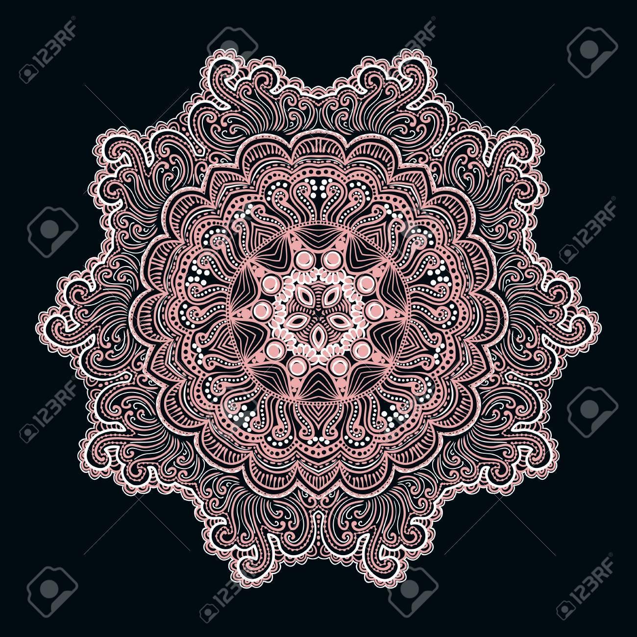 foto de archivo patrn ornamental del cordn redondo fondo crculo con muchos detalles parece ganchillo encaje hecho a mano