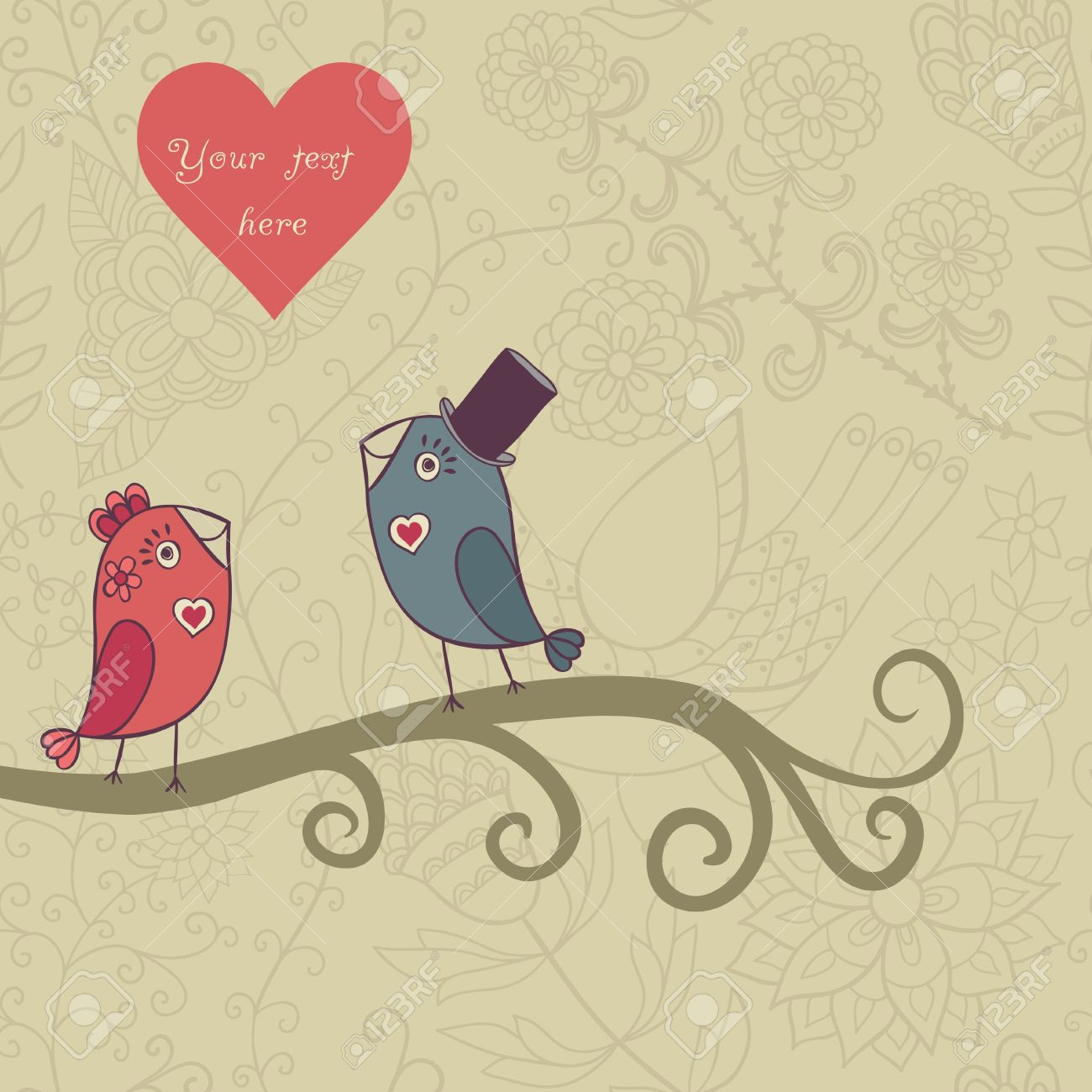 Beautiful Birds In Love Illustration Of Cartoon Birds On Branch