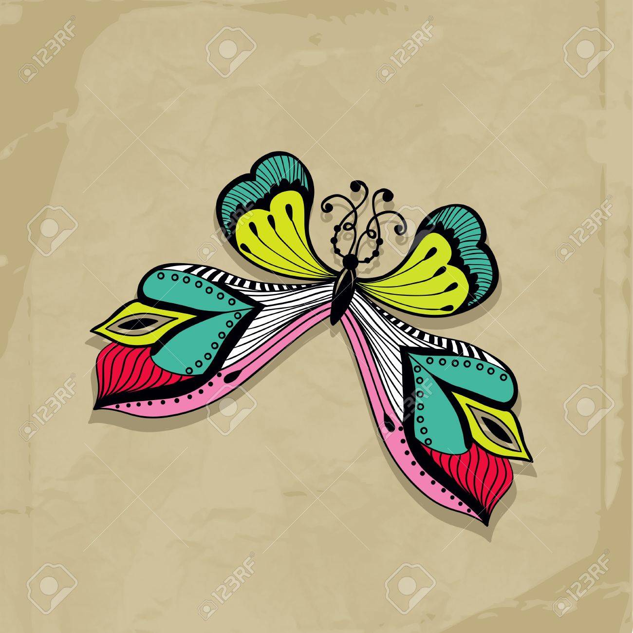 colorful abstract illustration of butterfly, Retro butterfly design Stock Vector - 21390133