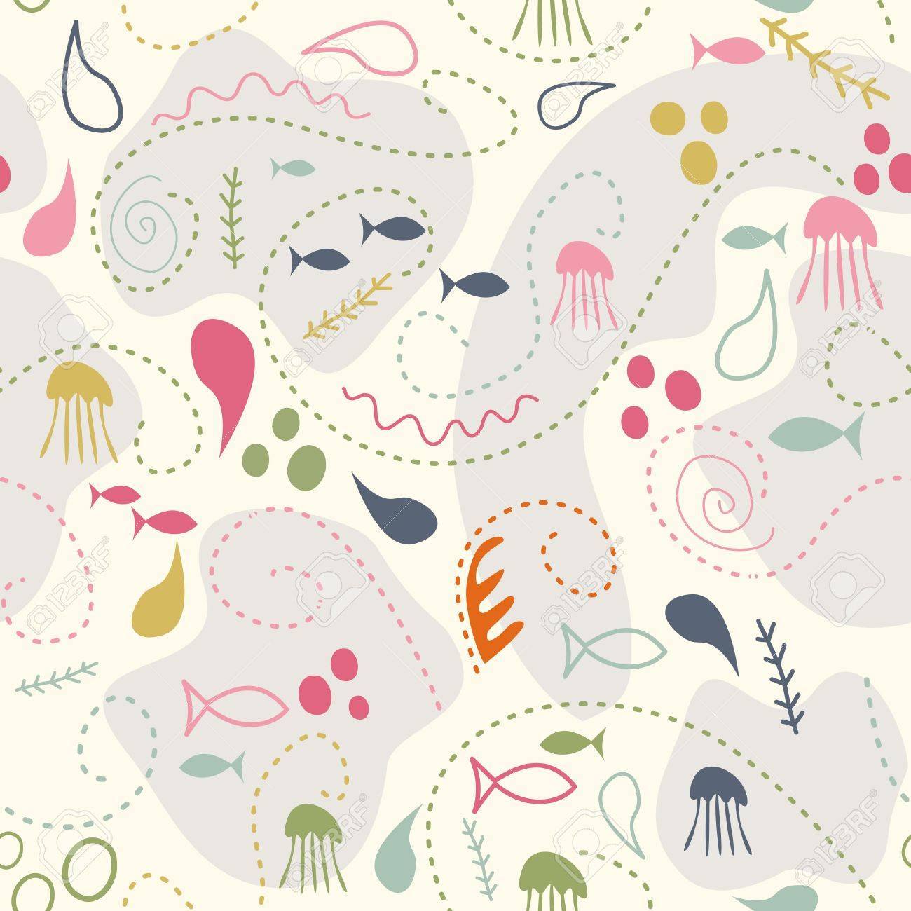 sea world seamless pattern, under water world wallpaper with fish,octopus and vegetation Stock Vector - 25147157