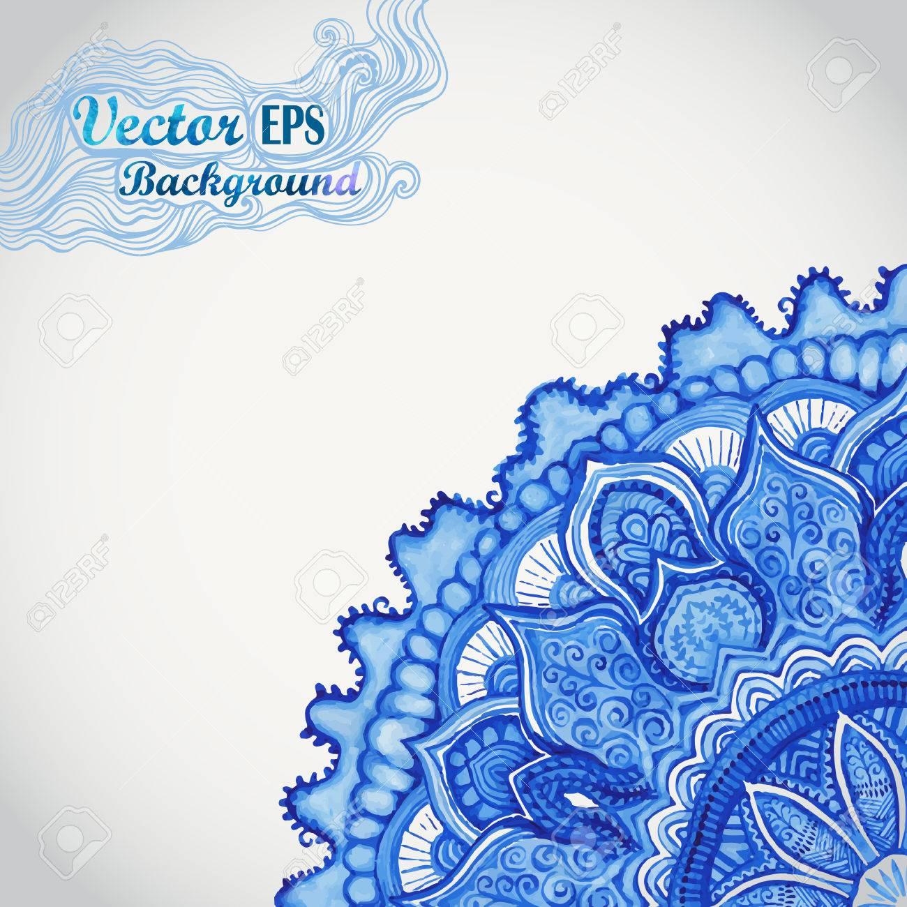 Blanco Y Azul Gzhel Ornament.Watercolor Vector. Patrón De Encaje De ...
