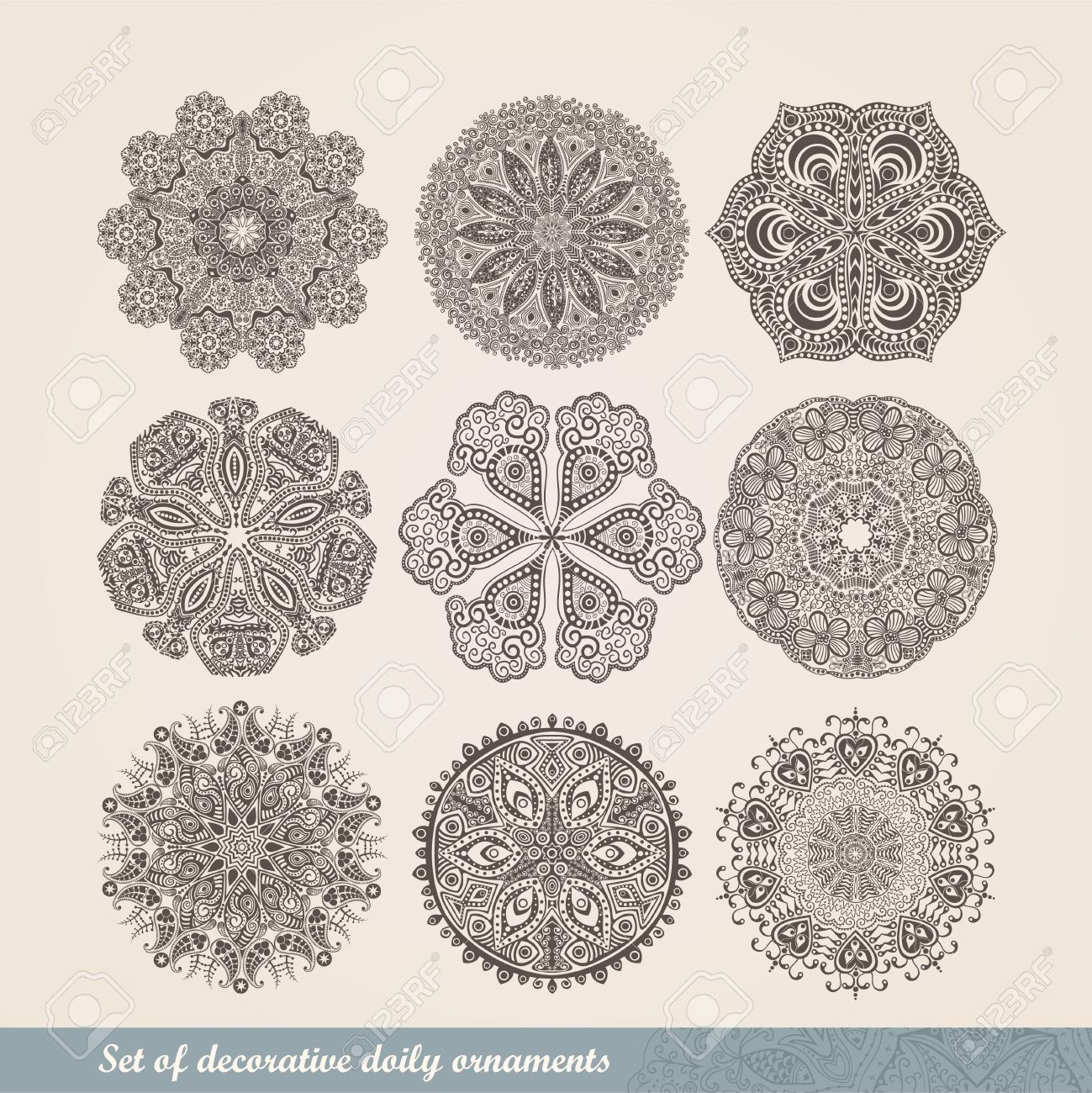Vector Indian ornament, kaleidoscopic floral pattern, mandala. Set of nine ornament lace. ornamental round lace pattern, circle background with many details, looks like crocheting handmade lace - 25379795