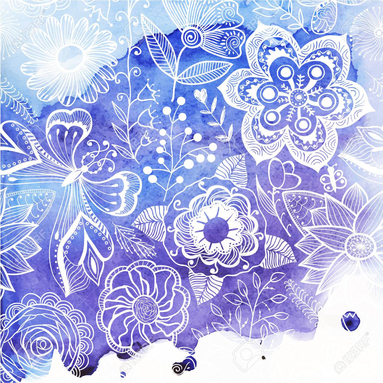 Вектор акварель текстуры с цветочным орнаментом. Мокрой бумаге. Blobs, пятно, краски кляксу. Похоже, океанской воды или неба, мо