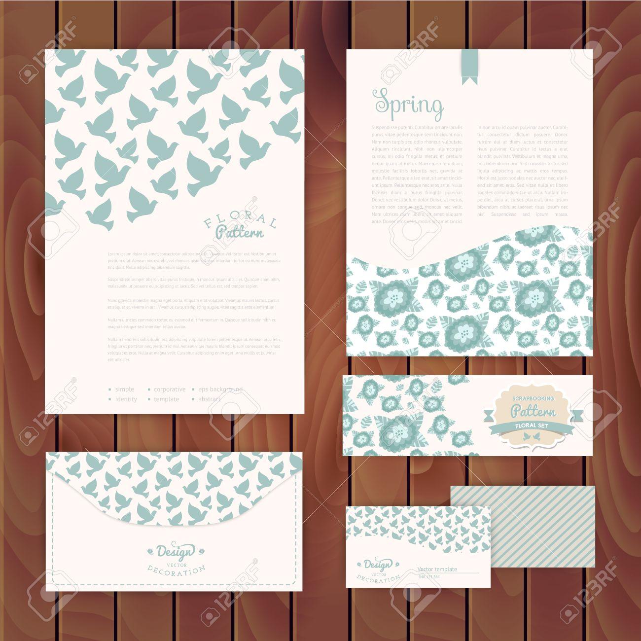 Set Of Floral Vintage Wedding Cards On Wood Texture Invitations – Floral Vintage Wedding Invitations