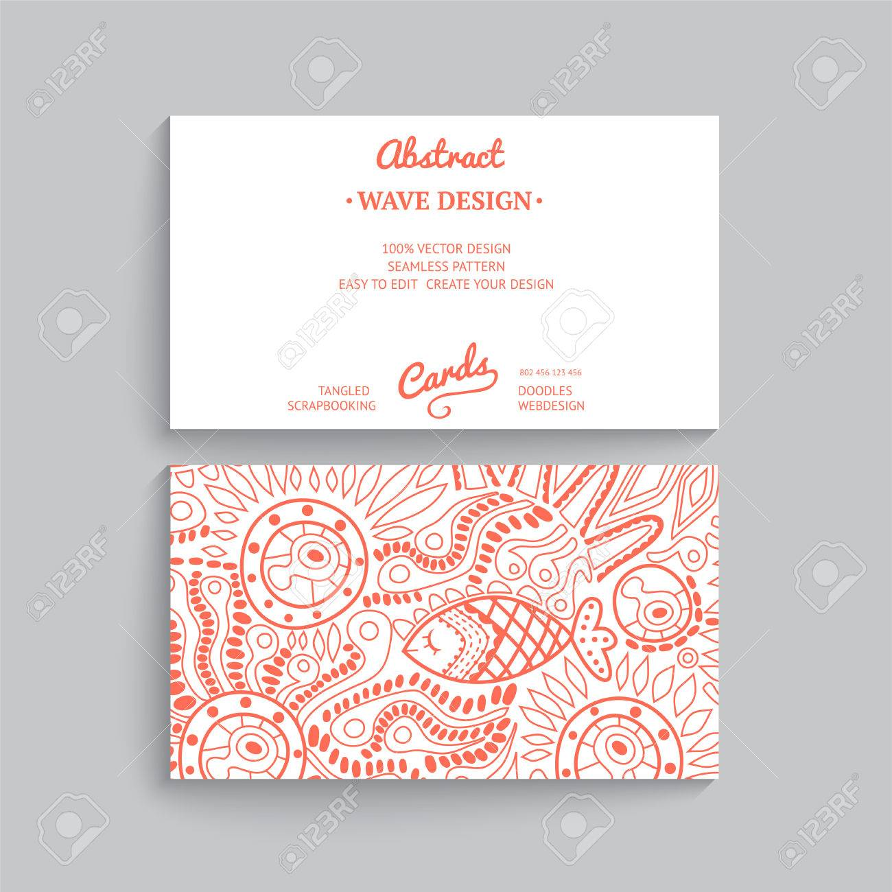 vector vector simple business card template with decorative ornament original design wave decoration minimalistic design seamless pattern is masked