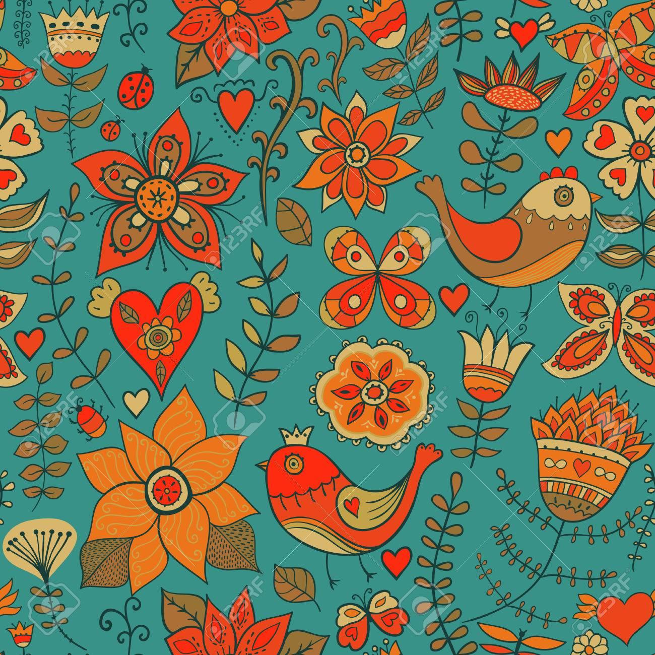 Seamless Texture Avec Des Fleurs Des Oiseaux Et Des Papillons