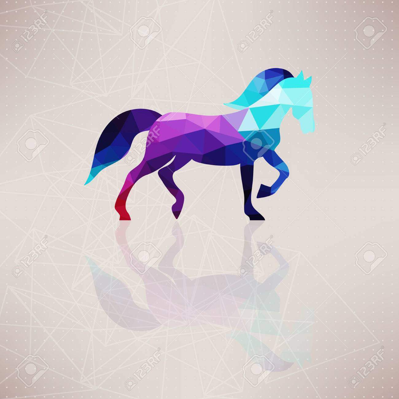 Triangle Horse. Abstract Horse Of Geometric Shapes. Sign Of The ...