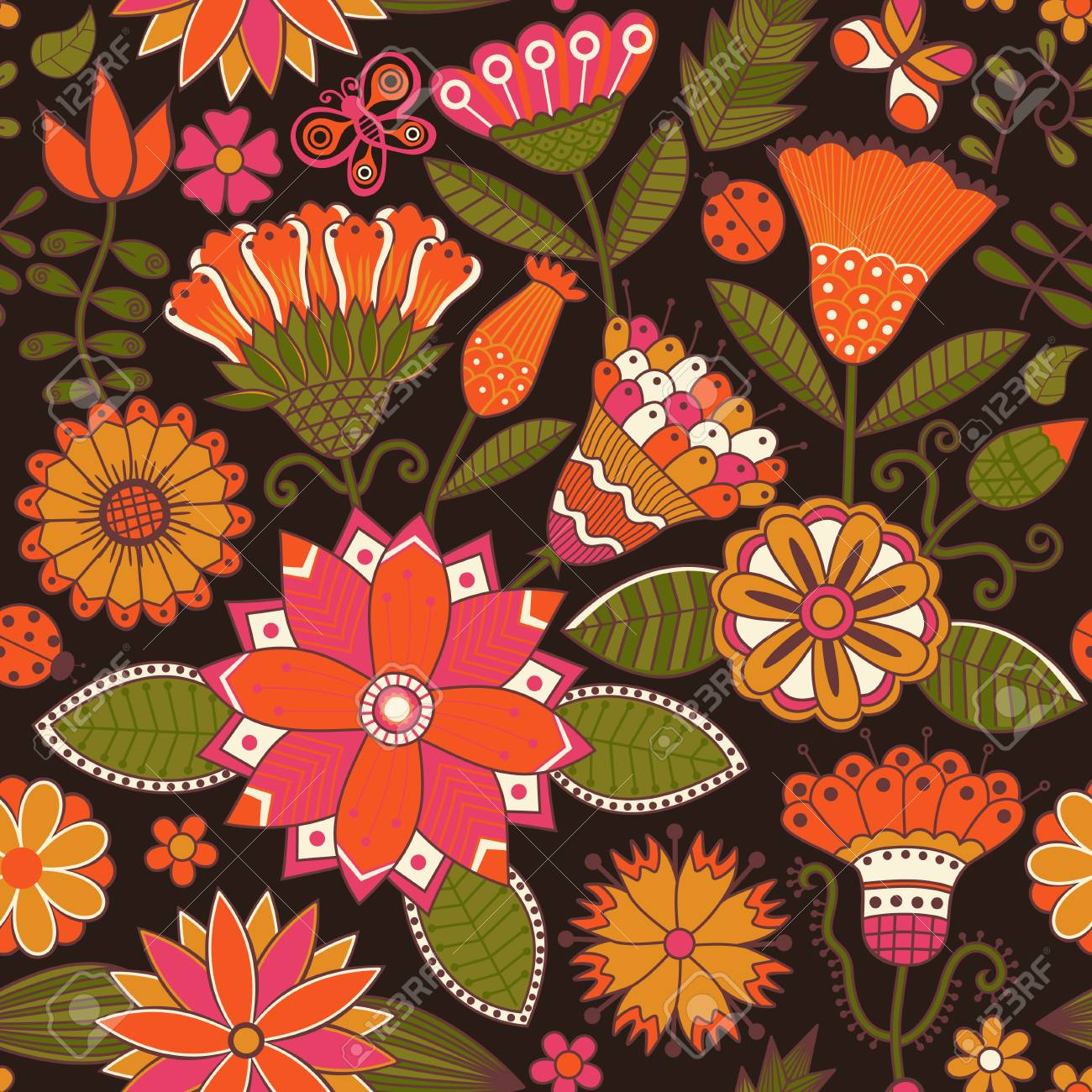 Abstract Floral Background Summer Theme Seamless Pattern Wallpaper Texture Wrapping With