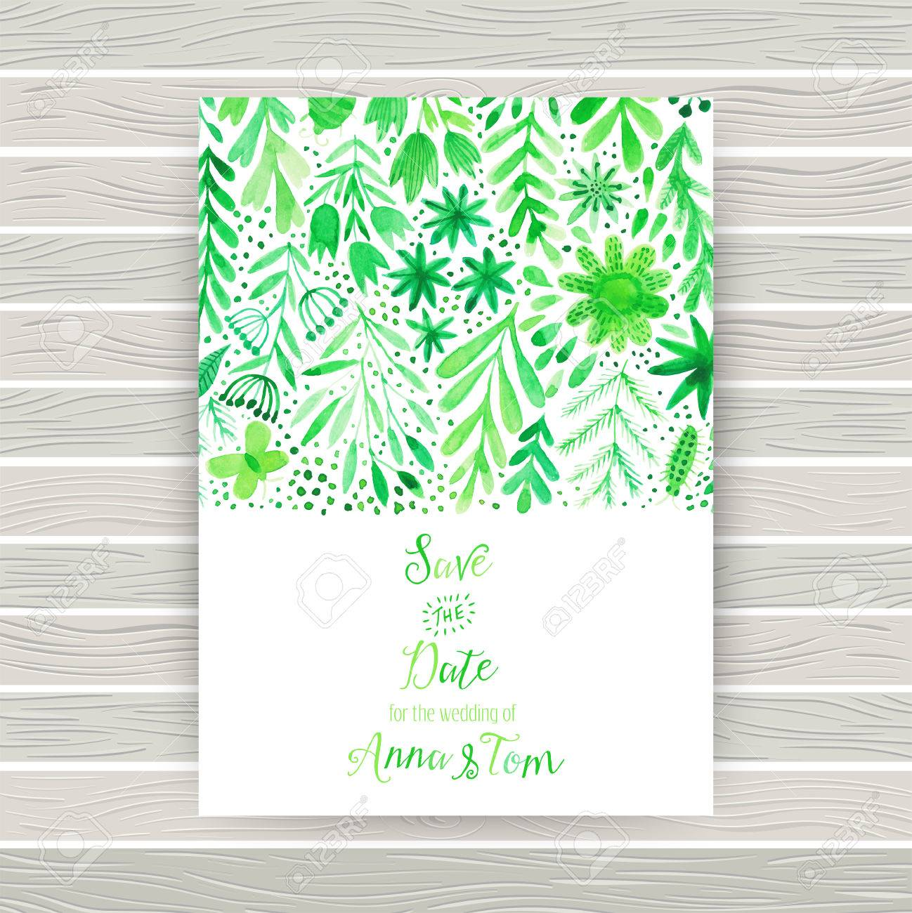 Vector Watercolor Invitation Card With Flowers And Plants. Floral ...