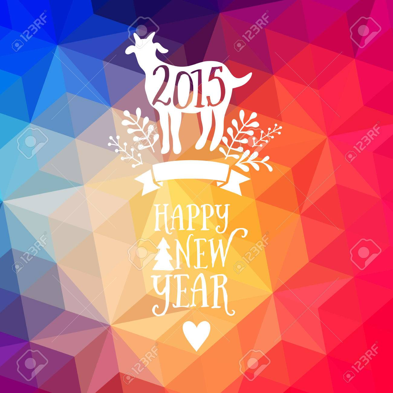 happy new year and merry christmas design geometric backdrop typography composition with lettering