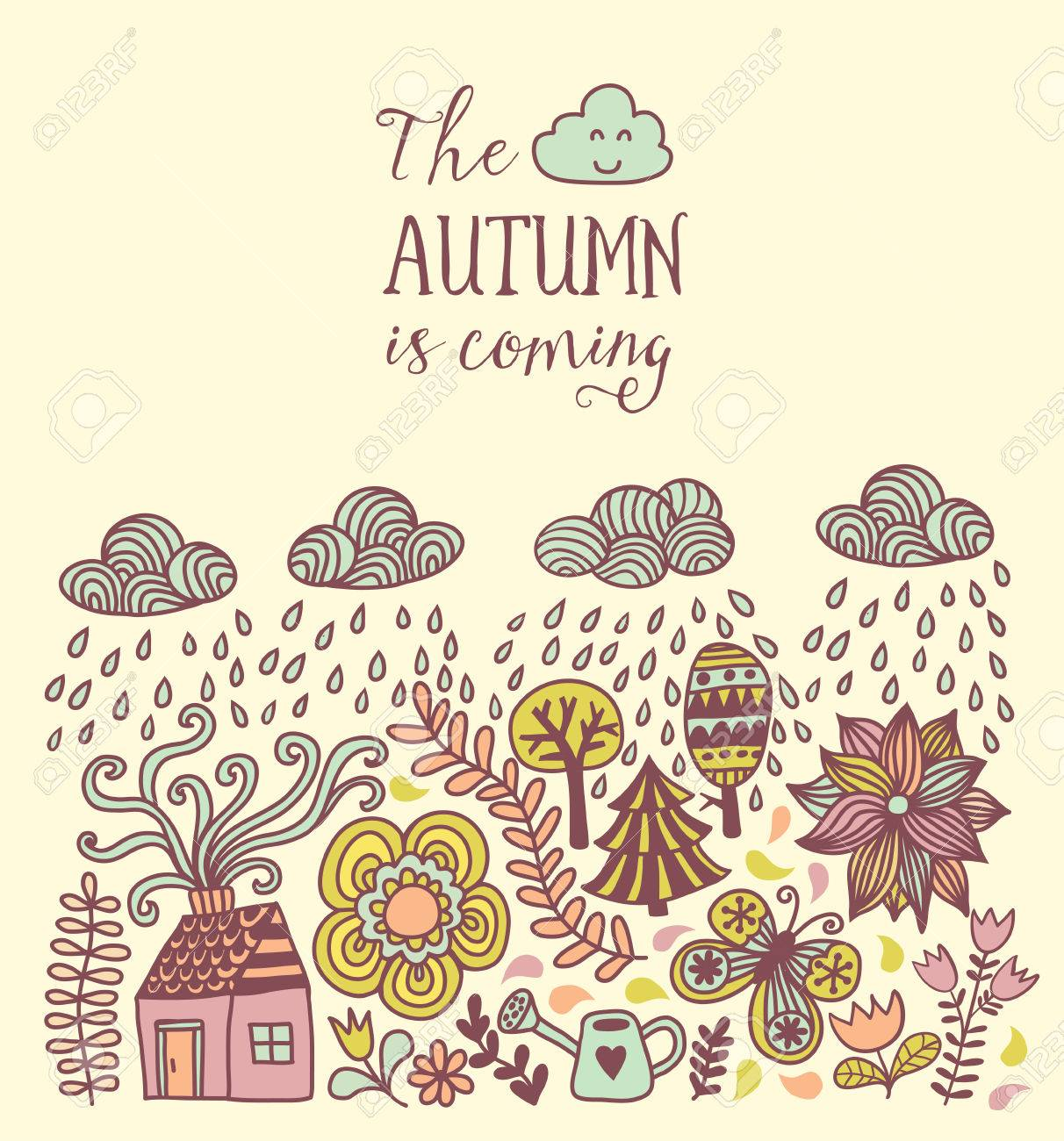 Vector   Vector Autumn Doodles Card. Hand Draw Trees And Leafs Over The  City. Lettering Quote. Season Of The Rain, Border Illustration, Greeting  Card, ...